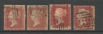 GB Victoria 1d Penny Red Stars Large Crown Postmarks 4 Stamps Good to Fine
