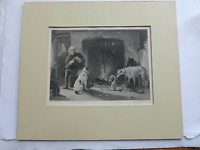 Antique engraving- The Gamekeeper's Fireside by W R Scott
