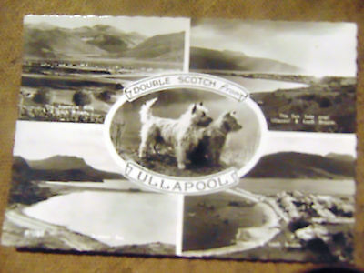 A vintage black /white postcard featuring 4 views of Ullapool by J.B.White