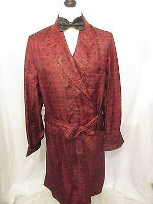 VINTAGE ST MICHAEL TRICEL RED DRESSING GOWN ROBE DANDY SMOKING JACKET MOD 48in