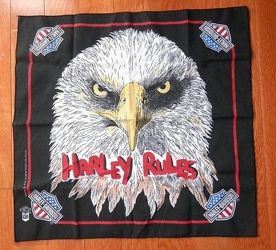 "Harley-Davidson Black Scarf Angry Eagle ""Harley Rules""  21""  x  22"""