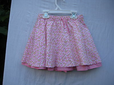 H&M pink cotton skirt with green and white dots and pink underskirt, 2-3 y/98 cm