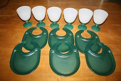 Set of 6 Tupperware Green Snackatizer Plates w/ Matching Goblets Cups Plastic
