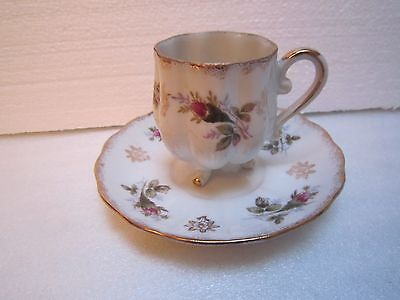 Lefton China Porcelain Footed Tea Cup & Saucer Hand Painted