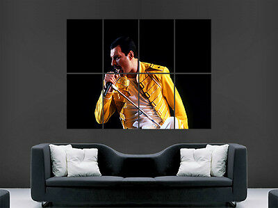 Freddy Mercury Poster Legend Music Rock Band Yellow Jacket Art Picture Print