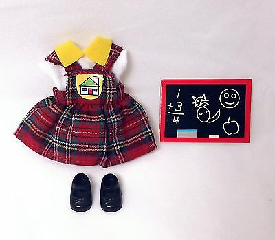 Vintage Barbie Kelly Doll Clothes Fashions School Girl Dress Jumper & Shoes NEW