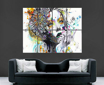 Flower Girl Abstract Poster Trippy  Wall Art Image Large Wall Poster Picture