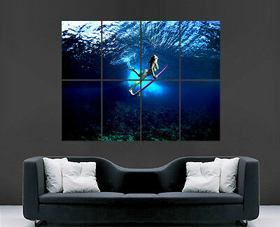 Surfing Poster Girl Sexy Underwater Sea  Image Print Picture Giant Huge Clubbing