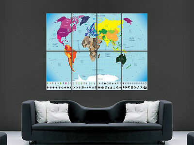 Map Of The World Map Poster Wall Print Giant Geography Image Huge
