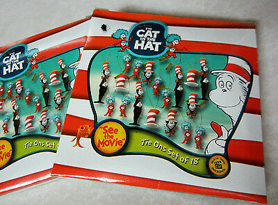 """THE CAT IN THE HAT~ DR.SEUSS"""" 2 Packs of 18 Miniature Ornaments 36 DECORATIONS"""