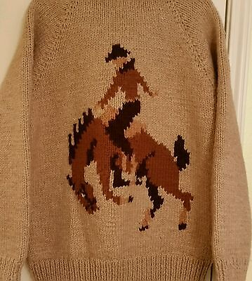 Equestrian Horse Sweater HandMade Lined Bronco Rodeo knit/crochet