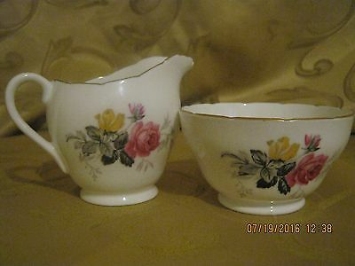 Vintage Adderly 1789 White and Floral Creamer and Sugar Bowl Set
