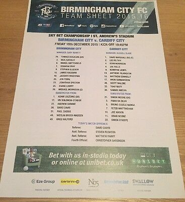 9 x Cardiff City 'Away' Teamsheets