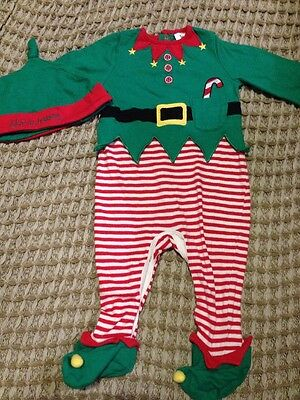 TU, Baby Christmas Elf Outfit Onesie & Hat, 3-6 Months, Holidays Xmas Dress Up