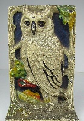 Antique Cast Iron Snow Owl Tree Moon Doorstop Bookend orig old multi color paint