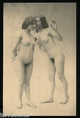 x640 Risque Erotic nude naked women 1920's Lesbian Photo postcard