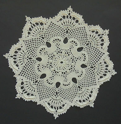 """NEW Hand Crocheted """"ROYAL CROWN""""  Doily/Table Topper in Ecru/Natural Prox. 15"""""""