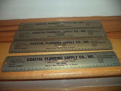 Lot (4) Advertising Metal Ruler - Plumbing Co. Staten Island, New York