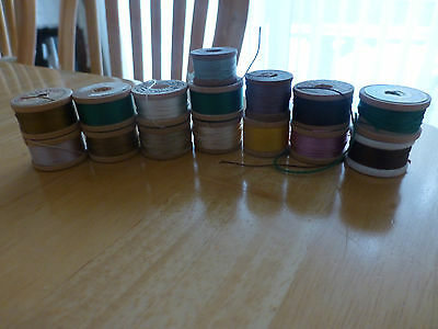 Vintage Lot of Silk Twist Thread (15) spools - Assorted colors/makers