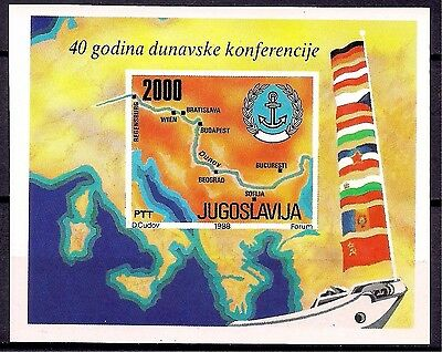 Yugoslavia 1988 Donau River/Conference Flags Maps m/s MNH