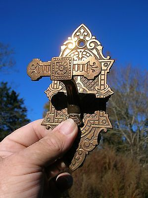 Vintage Old Antique Highly Ornate Bronze Door Thumb Latch