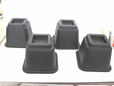 "4 Stackable Furniture Risers 4 Pack 5 Inch Lift 500 Lbs 3"" Opening"