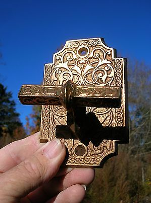Vintage Old Antique Ornate Bronze Door Latch Patd 1880