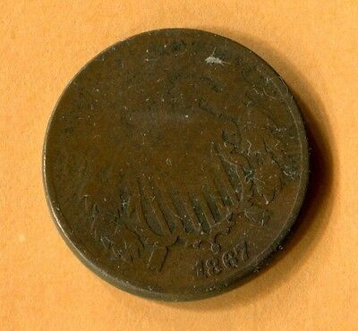 1867 Two Cent Piece Good Condition