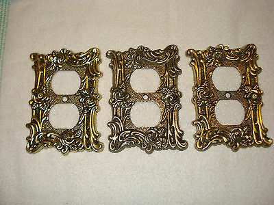 Vintage Floral Brass Outlet cover Deco cover plate .