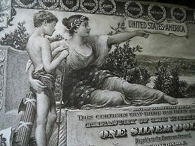 Impressive - 1896 $1 Educational Silver Certificate Note- 40-Inch Canvas Artwork