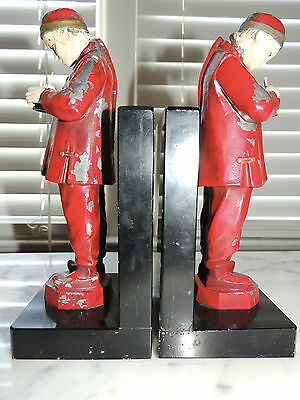 Pair Rare Antique JB Hirsch French Art Deco Painted Chinese Bookends Book Ends