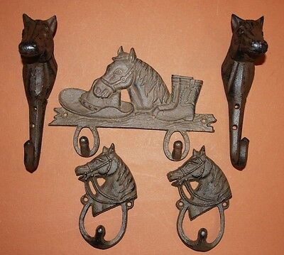 (5) Pcs, Horse Lovers Decor, Western Bathroom, Cast Iron Wall Hooks, W-7,35,8