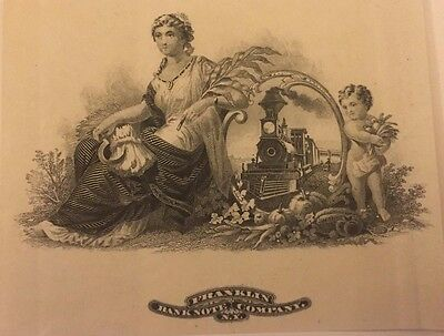 1890s Franklin Bank Note Company Engraving, New York Rare! Train and Allegorical