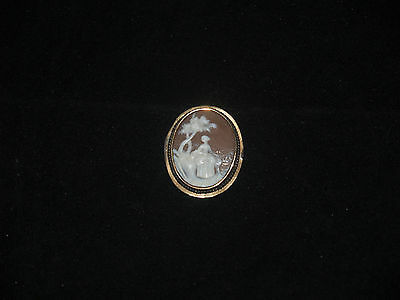 Antique Cameo Brooch Carved Shell Jewelry Lady In Landscape