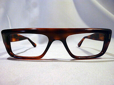 Vintage Bold Men's Eyeglass Frame France with Straight Top in Amber 50-20 - NOS