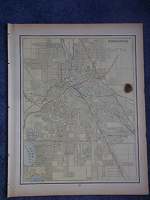 Antique Original 1886  Minneapolis  or Omaha (2 sided) Multicolor Map