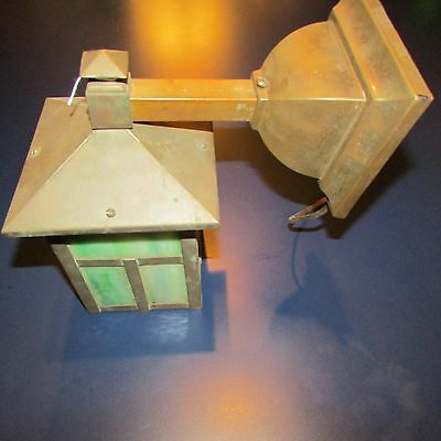 Antique Mission Arts and Crafts Bungalow Wall Sconce Light Green Slag Glass LOOK