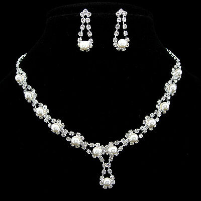 Wedding or Party Pearl Crystal Necklace Earrings Set