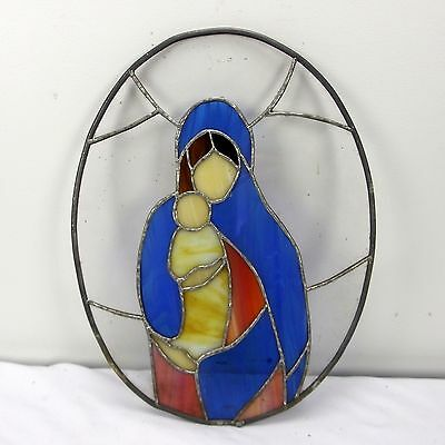 Vtg Leaded Stained Glass Window Mary Holding Baby Jesus Oval
