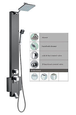 Stainless Steel Rainfall Shower Panels Tower Spa Tub Spout Bathroom Vanities