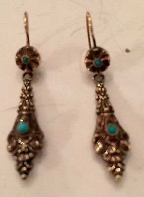 Rare Victorian/Etruscan Turqoise 14K Yellow Gold Repousse Earrings Mint!