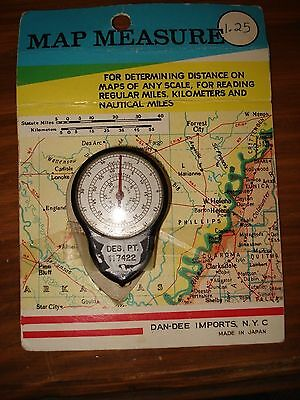 Vintage Map Measure-Determining Distance On Maps of Any Scale- Made Japan