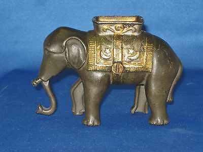"A. C. Williams ELEPHANT with HOWDAH  Cast Iron Still Bank 1905-1920 5"" by 3 1/2"""