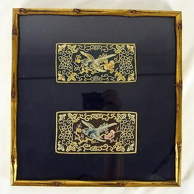 Framed pair of Embroidered Silk Tapestry Panels Flying Bird Cherry Blossoms
