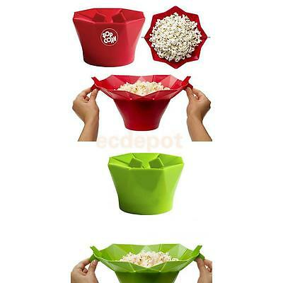 2x Green/Red Silicone Popcorn Popper Makers DIY Home Microwave Popcorn Machines