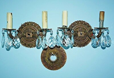 Antique Vintage ORIGINAL SPANISH BRASS & CRYSTAL WALL SCONCES ca1950 French Gold