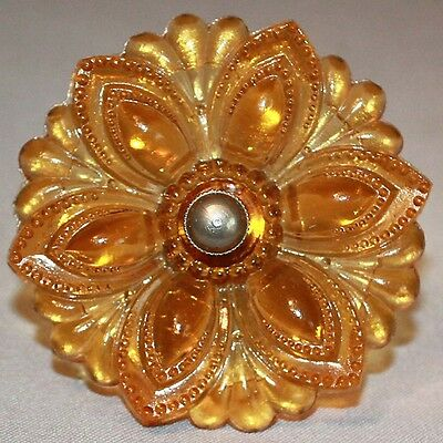 "1B Vintage Antique 3"" VICTORIAN AMBER GLASS CURTAIN TIE BACK"