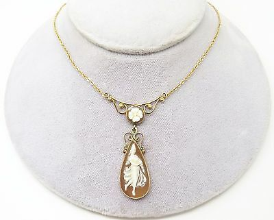 14K Gold Figural Genuine Natural Shell Cameo Necklace (#3370)