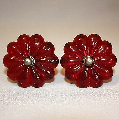 Vintage Antique PAIR of VICTORIAN RUBY RED GLASS CURTAIN TIE BACKS Flower Drapes