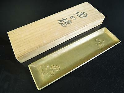 E3293: Japanese Copper PEN TRAY/writing implement, auto w/signed box
